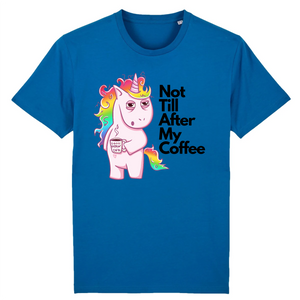 "T-shirt licorne homme - ""not till after my coffee"" - Clairement licorne"