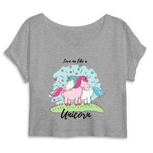 "Crop top licorne femme - ""love me like a unicorn"" - Clairement licorne"