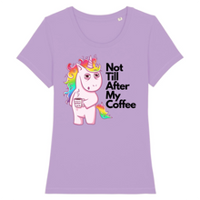 "Charger l'image dans la galerie, T-shirt licorne femme - ""not till after my coffee"" - Clairement licorne"