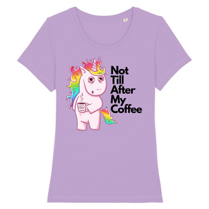 "T-shirt licorne femme - ""not till after my coffee"" - Clairement licorne"
