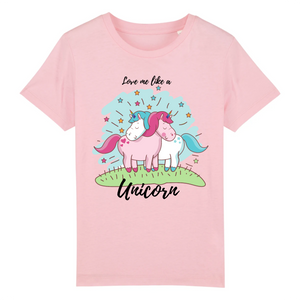 "T-shirt licorne enfant - ""love me like a unicorn"" - Clairement licorne"