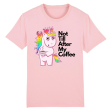 "Charger l'image dans la galerie, T-shirt licorne homme - ""not till after my coffee"" - Clairement licorne"