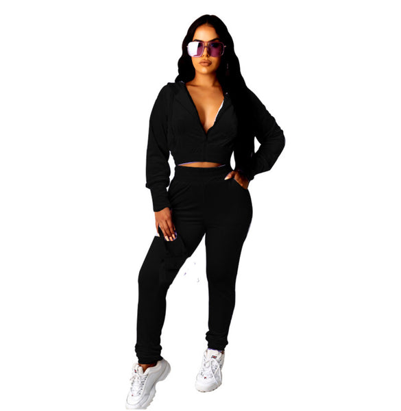 Big Boss Velour Crop Jacket & Jogger Set | Black