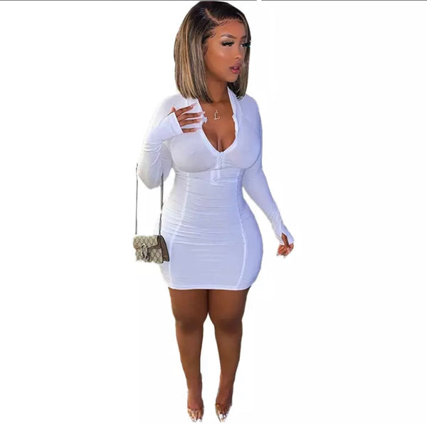 Sky's The Limit Mini Dress | White