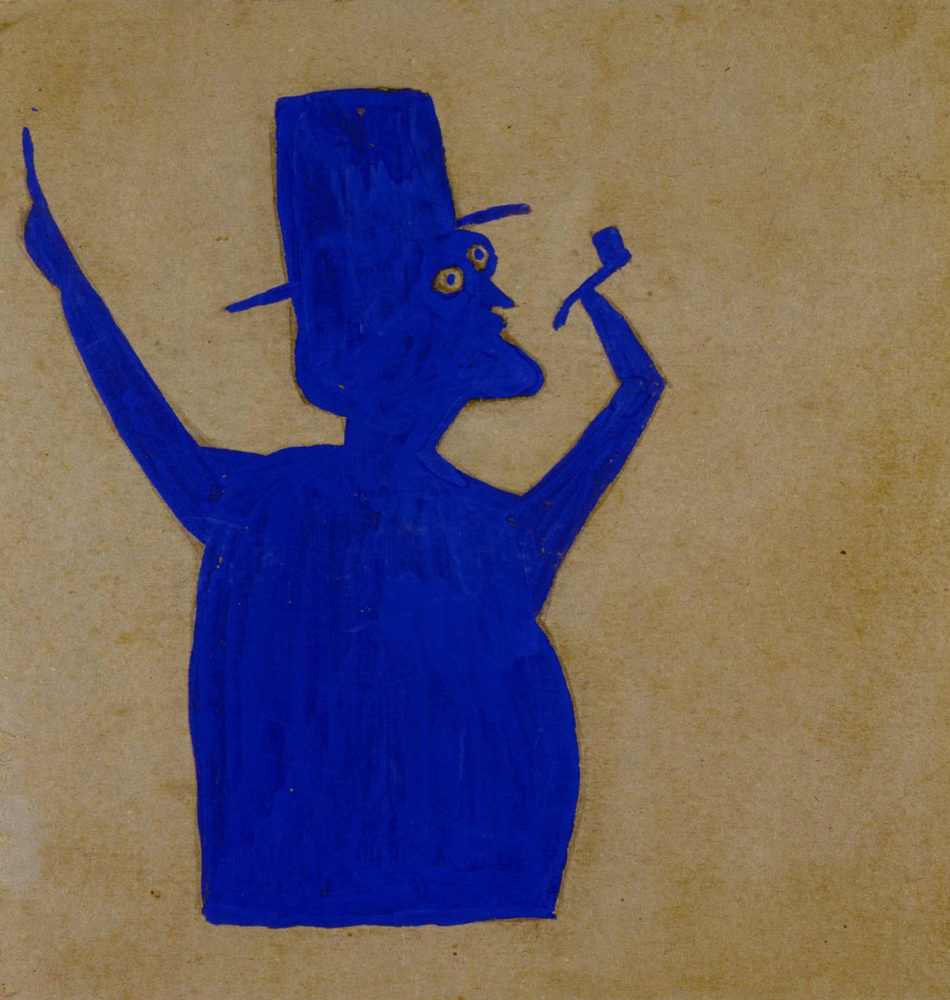 Truncated Blue Man with Pipe - Bill Traylor - organic tee