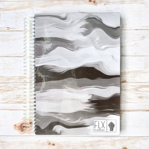 Black & White Undated 6-Month Daily FLX Planner (*BLM Benefit Cover)