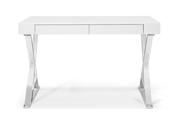 High Gloss Gray and White and Chrome Desk