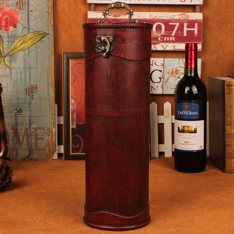Cylinder Wooden Wine Bottle Box-DODAJ POPUST NA KOLICINU