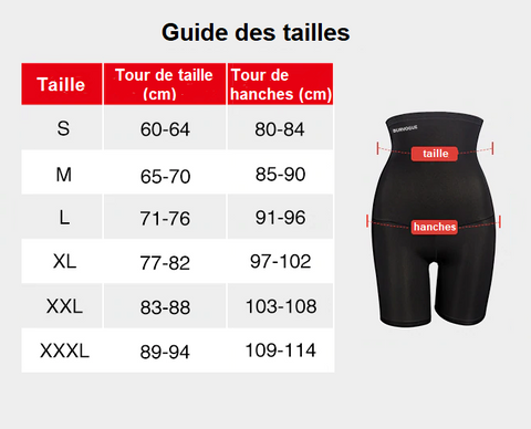 guide des tailles gaine shorty amincissant
