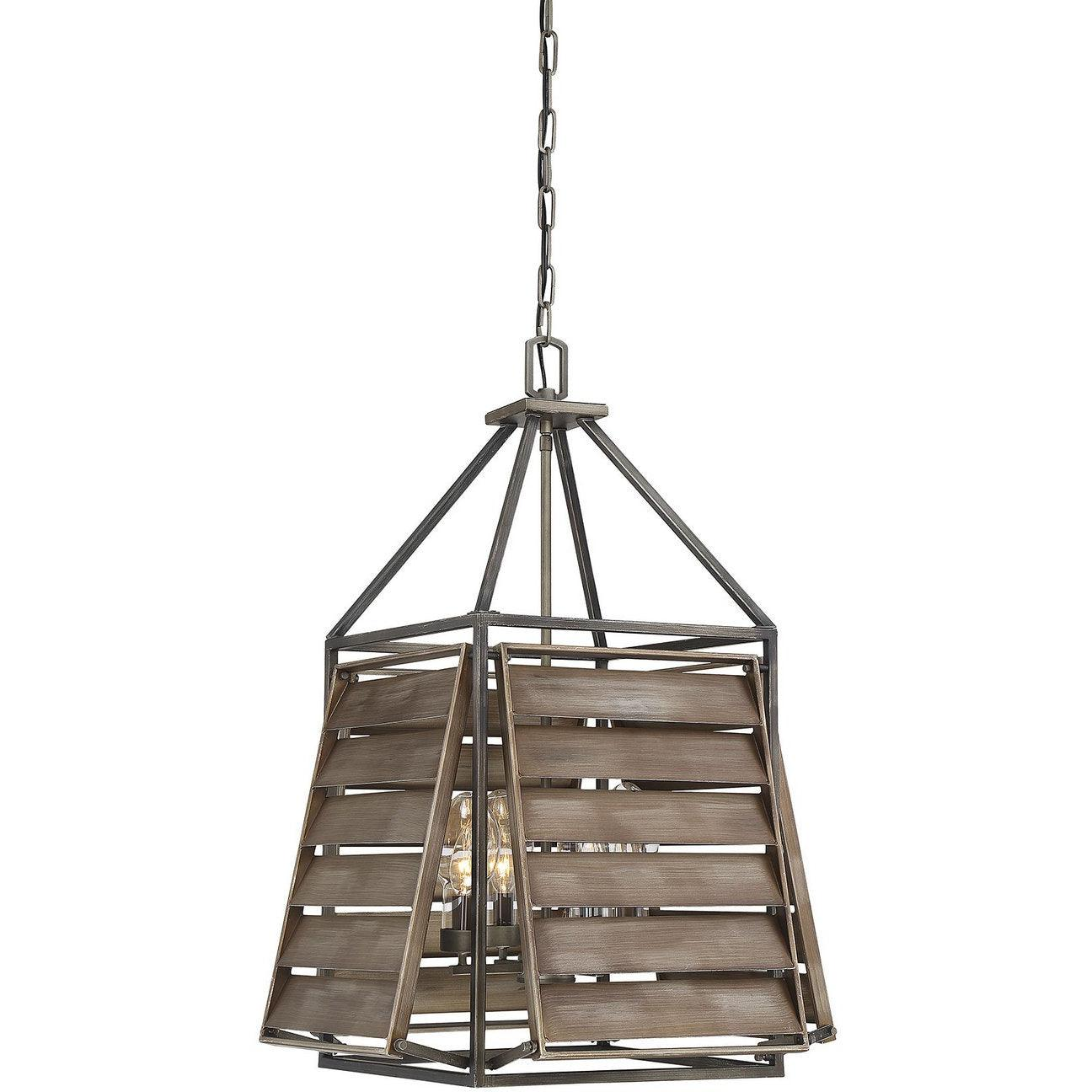 Savoy House - 7-9341-4-162 - Four Light Outdoor Pendant - Hartberg - Aged Driftwood