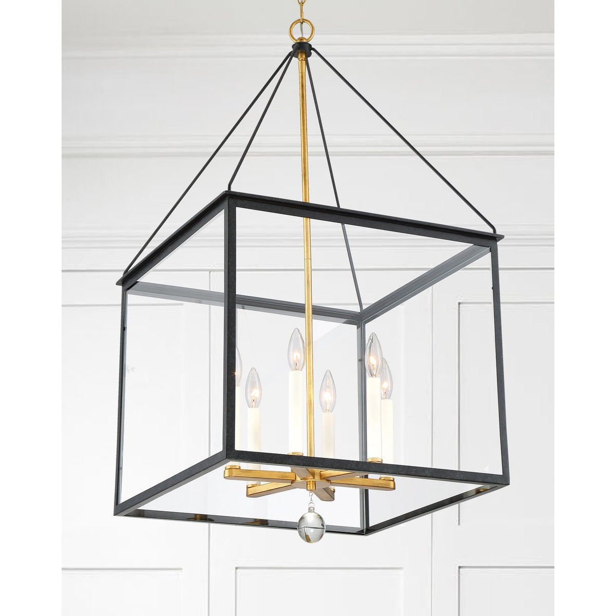 Crystorama - WES-9908-BK-GA - Six Light Lantern - Weston - Black / Antique Gold