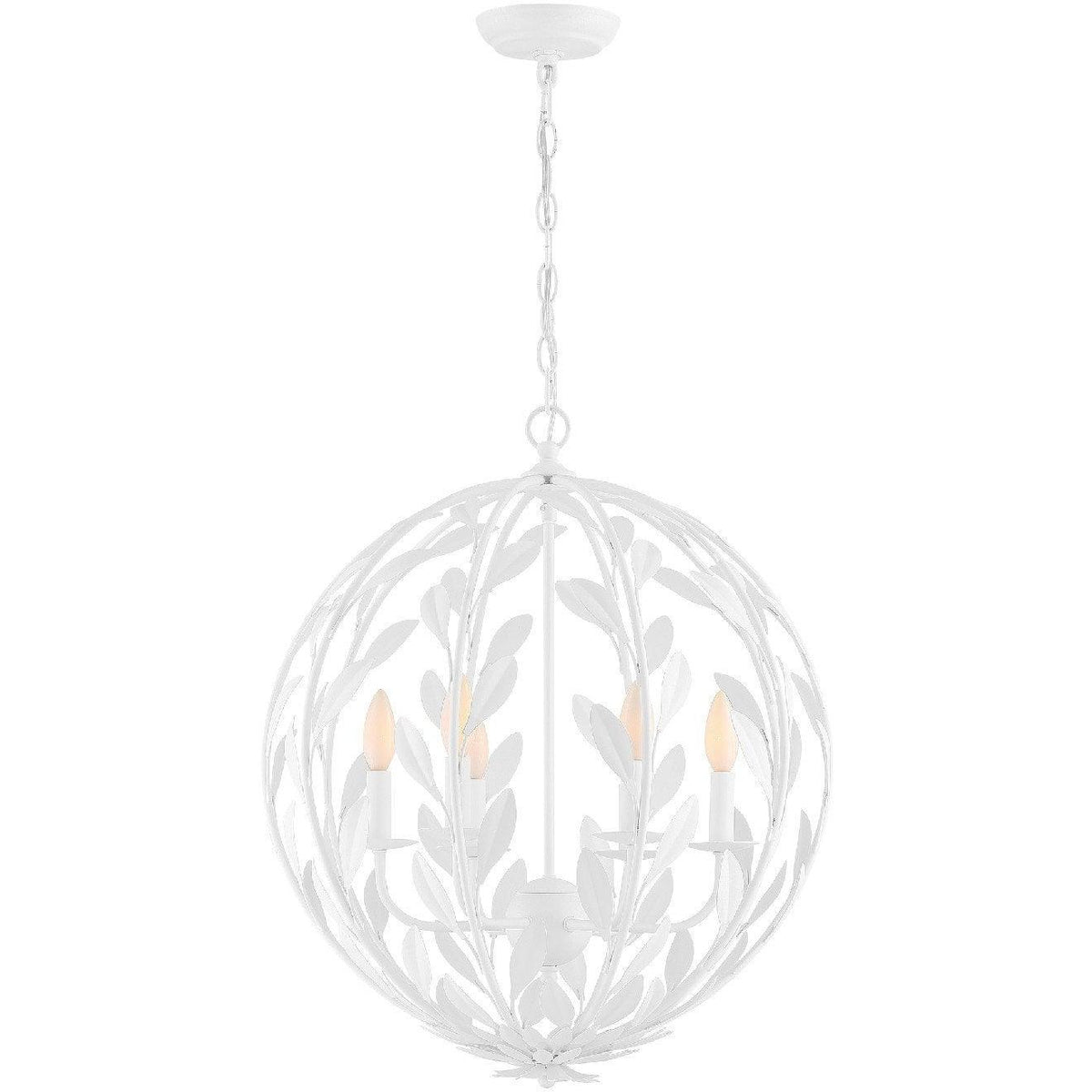 Crystorama - 506-MT - Six Light Chandelier - Broche - Matte White