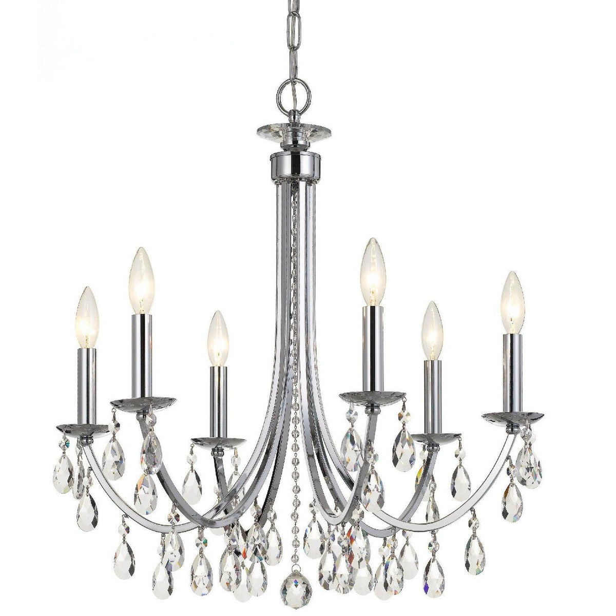 Crystorama - 8826-CH-CL-MWP - Six Light Chandelier - Bridgehampton - Polished Chrome