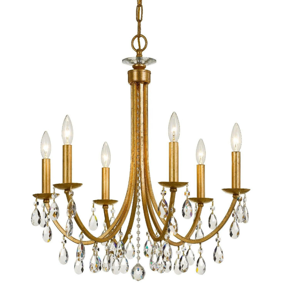 Crystorama - 8826-GA-CL-MWP - Six Light Chandelier - Bridgehampton - Antique Gold