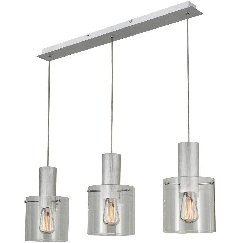 Artcraft Lighting - AC11522CL - Three Light Island Pendant - Henley - Brushed Aluminum & Clear Glass