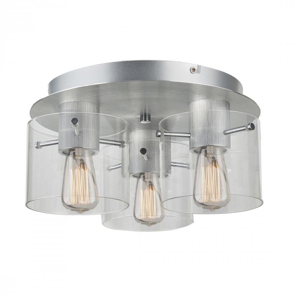 Artcraft Lighting - AC11524CL - Three Light Flush Mount - Henley - Brushed Aluminum & Clear Glass