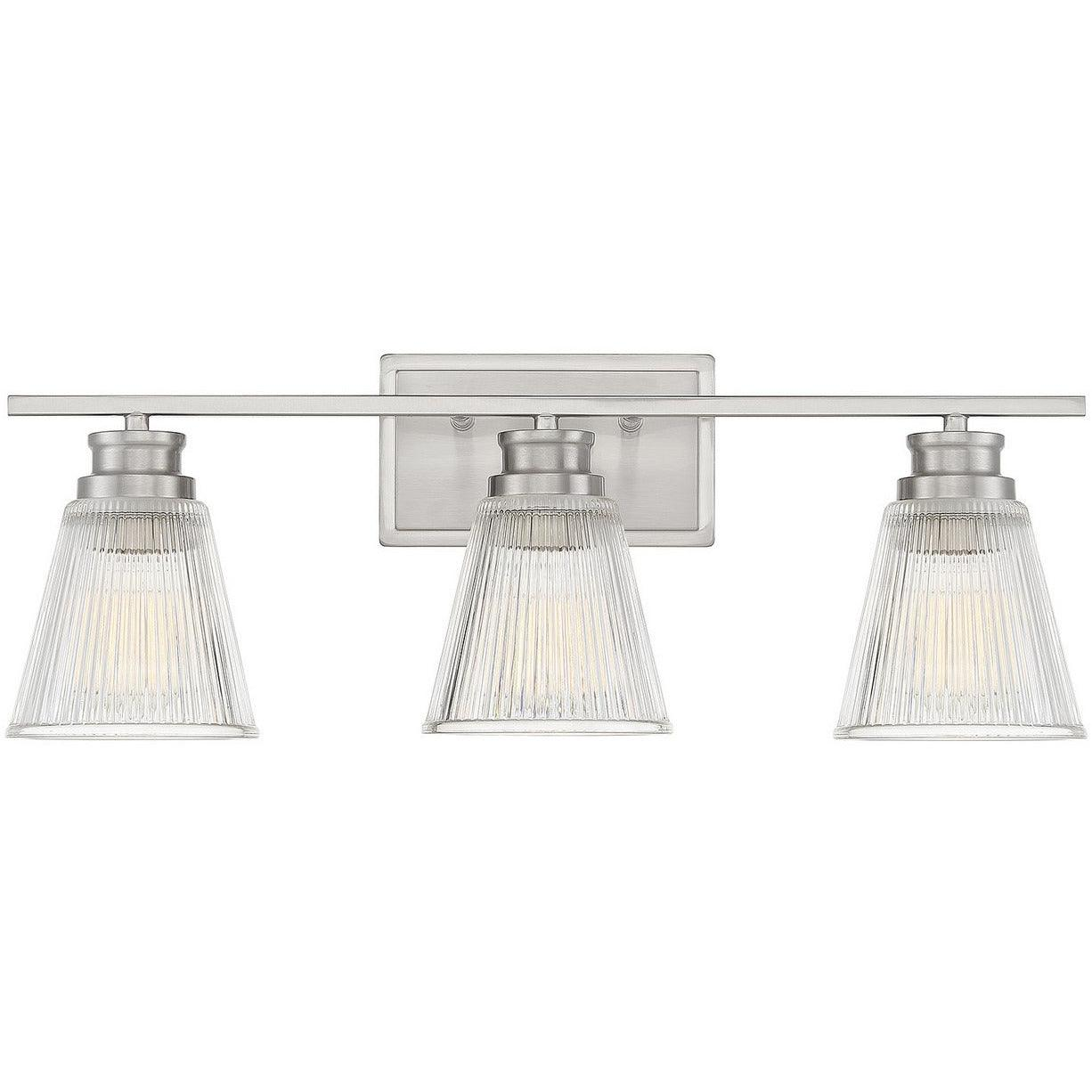 Meridian Lite Trends -  - Three Light Bath Bar - Meridian - Brushed Nickel