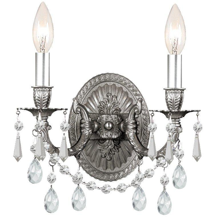 Crystorama - 5522-PW-CL-SAQ - Two Light Wall Mount - Gramercy - Pewter