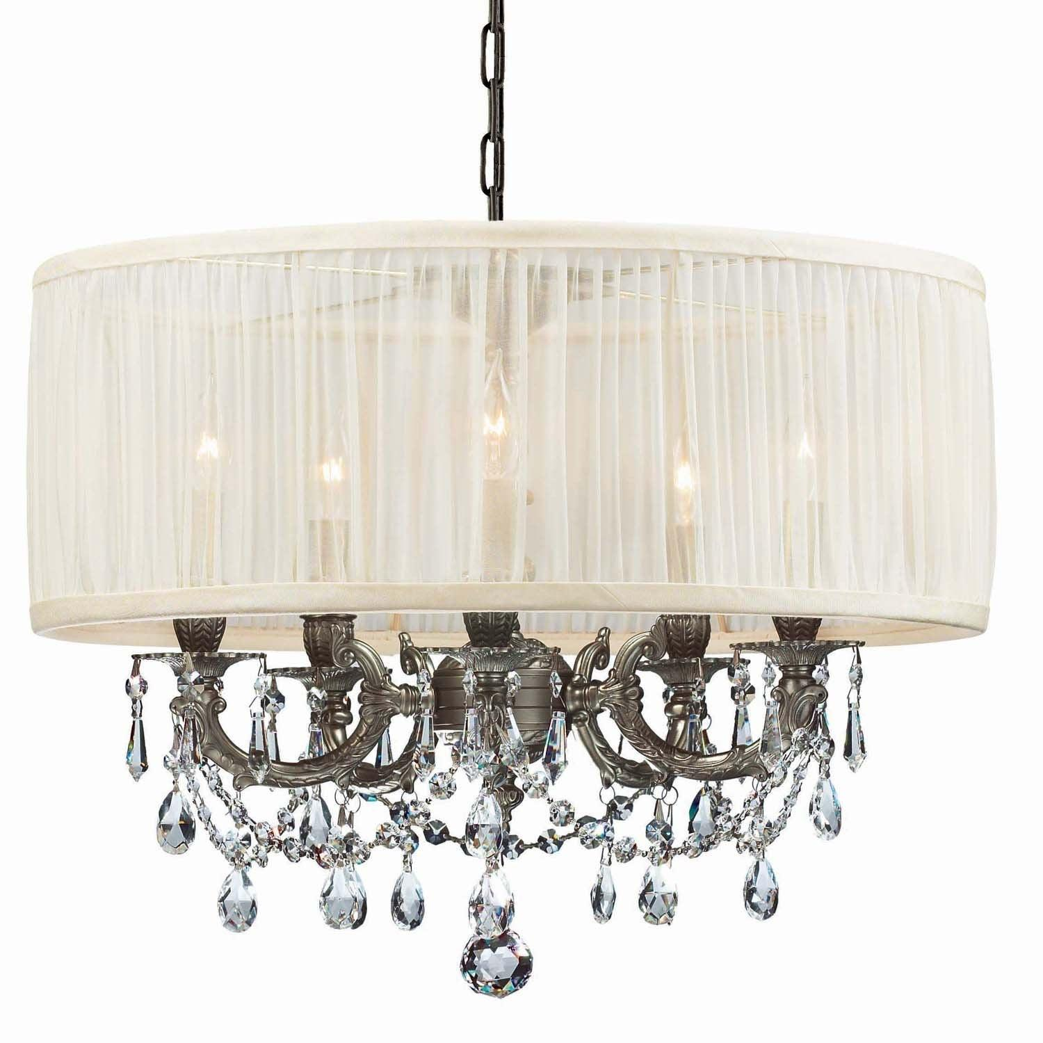 Crystorama - 5535-PW-SAW-CLM - Five Light Mini Chandelier - Gramercy - Pewter