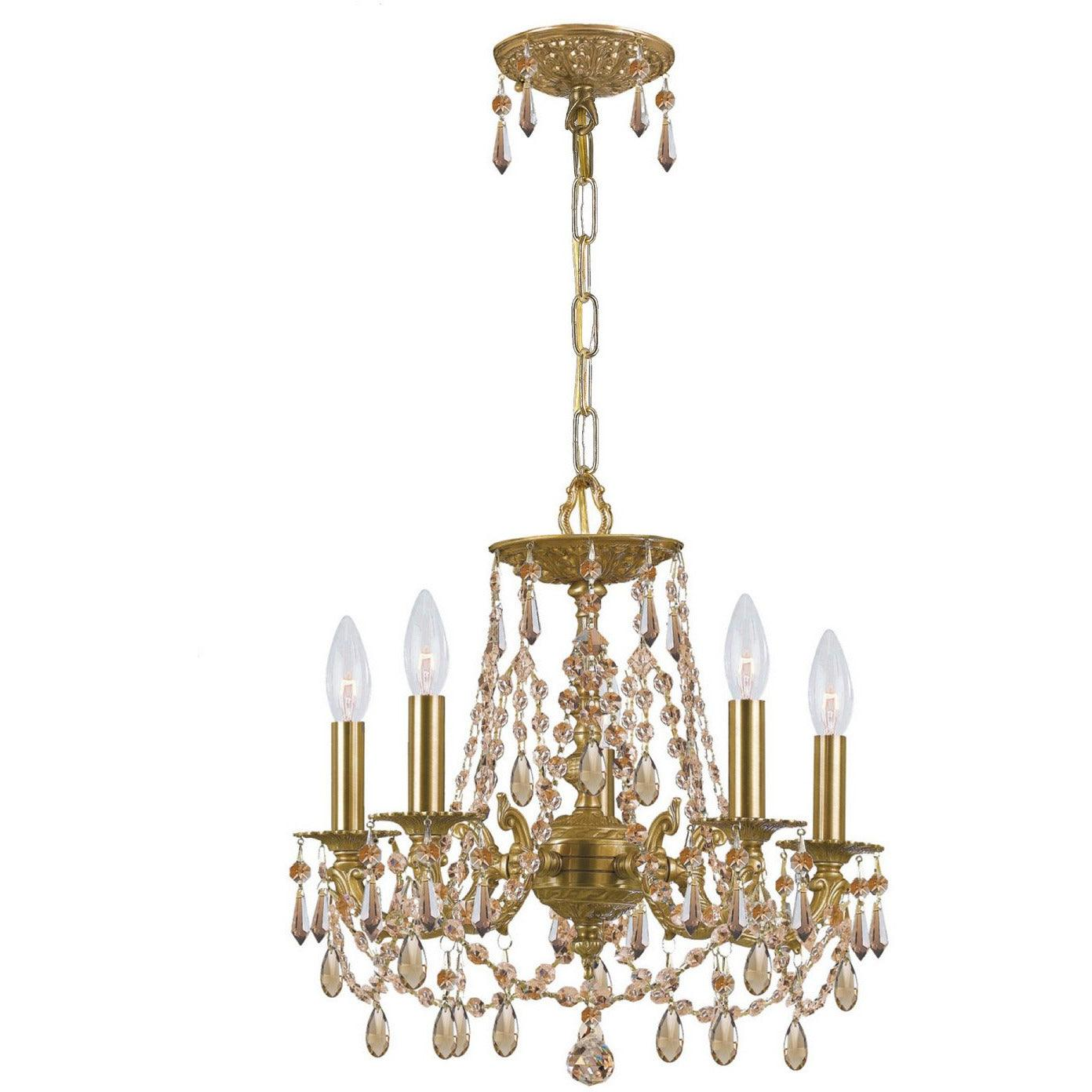 Crystorama - 5545-AG-GTS - Five Light Mini Chandelier - Gramercy - Aged Brass