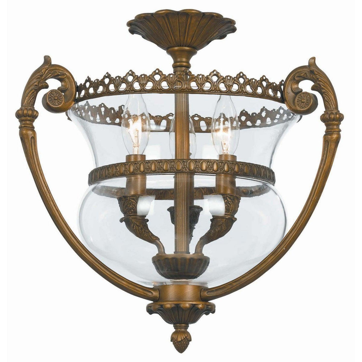 Crystorama - 5791-AB - Three Light Ceiling Mount - Ceiling Mount - Antique Brass