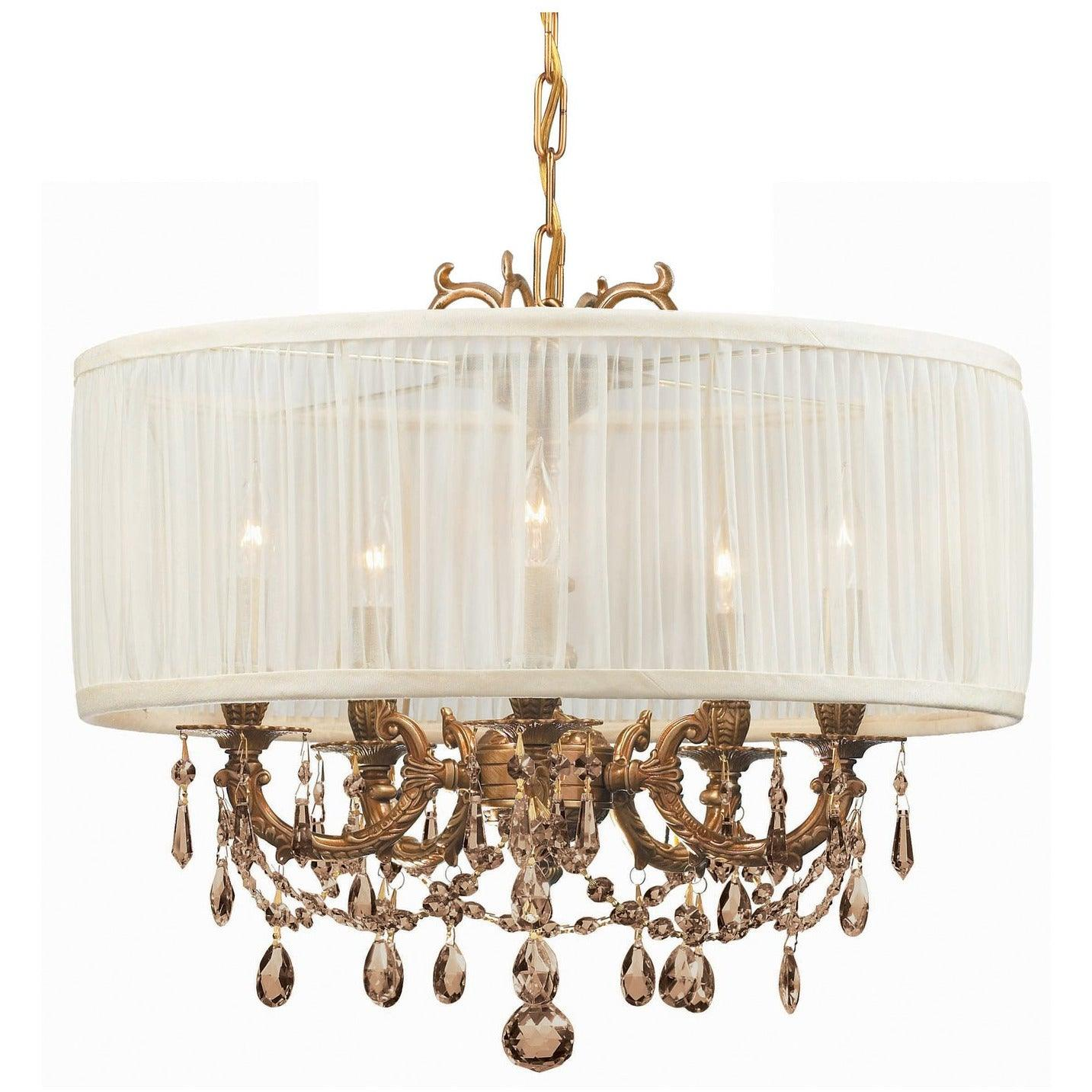 Crystorama - 5535-AG-SAW-GTS - Five Light Mini Chandelier - Gramercy - Aged Brass