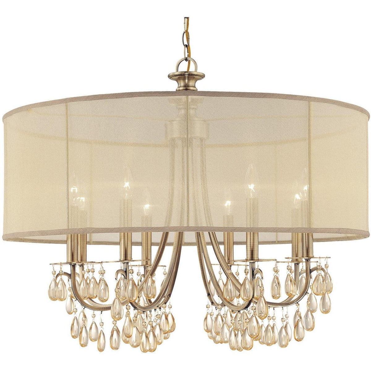 Crystorama - 5628-AB - Eight Light Chandelier - Hampton - Antique Brass