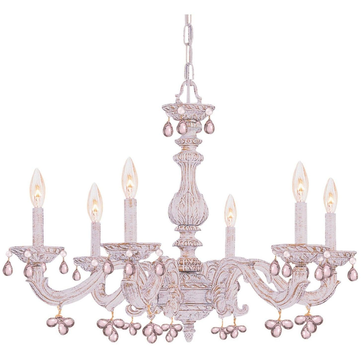 Crystorama - 5226-AW-ROSA - Six Light Chandelier - Paris Market - Antique White