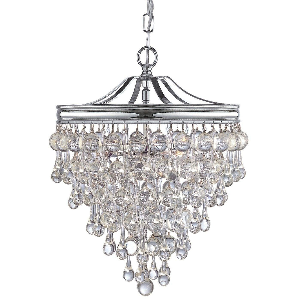 Crystorama - 130-CH - Three Light Mini Chandelier - Calypso - Polished Chrome