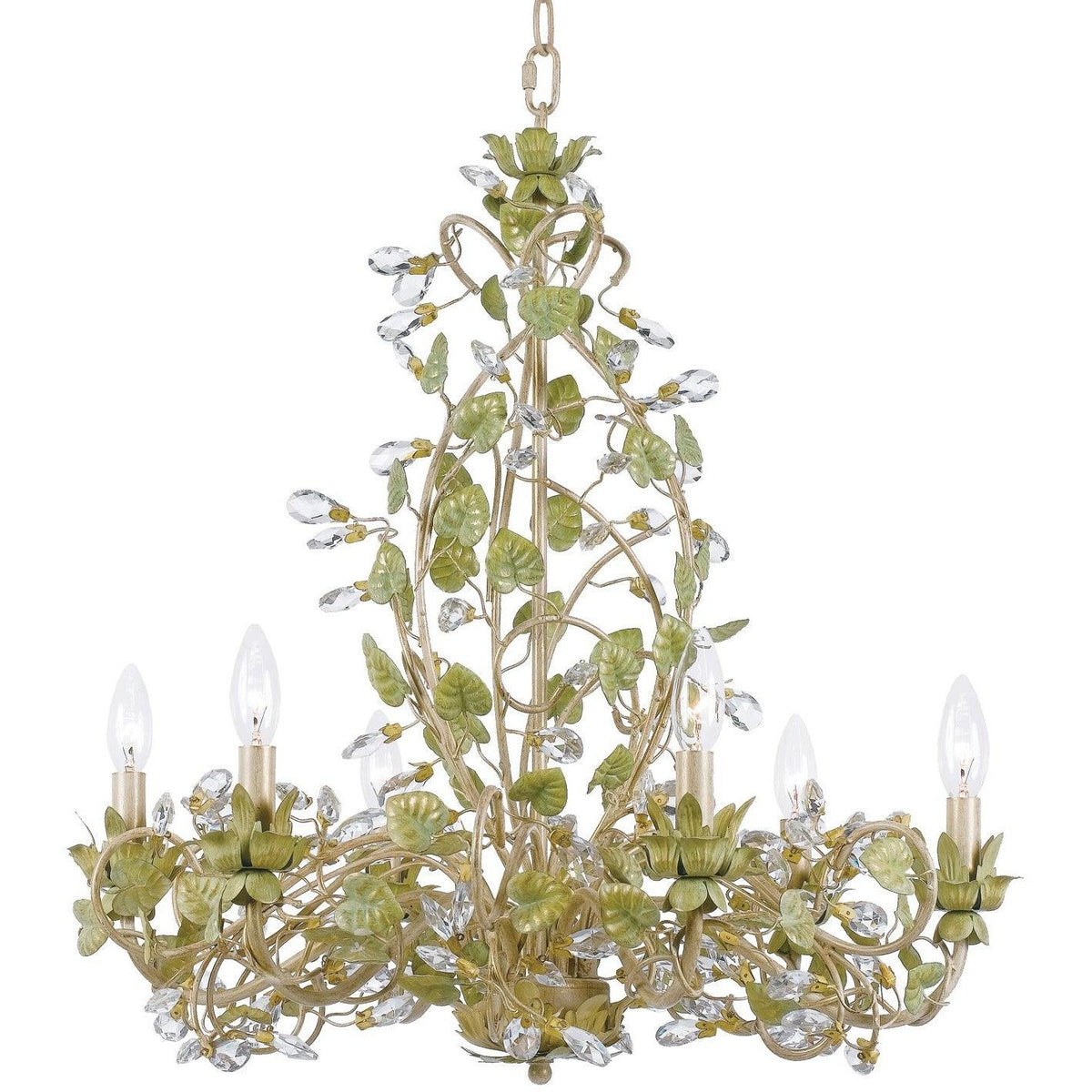 Crystorama - 4846-CT - Six Light Chandelier - Josie - Champagne Green Tea