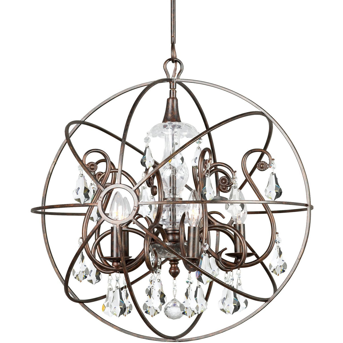Crystorama - 9026-EB-CL-MWP - Five Light Chandelier - Solaris - English Bronze