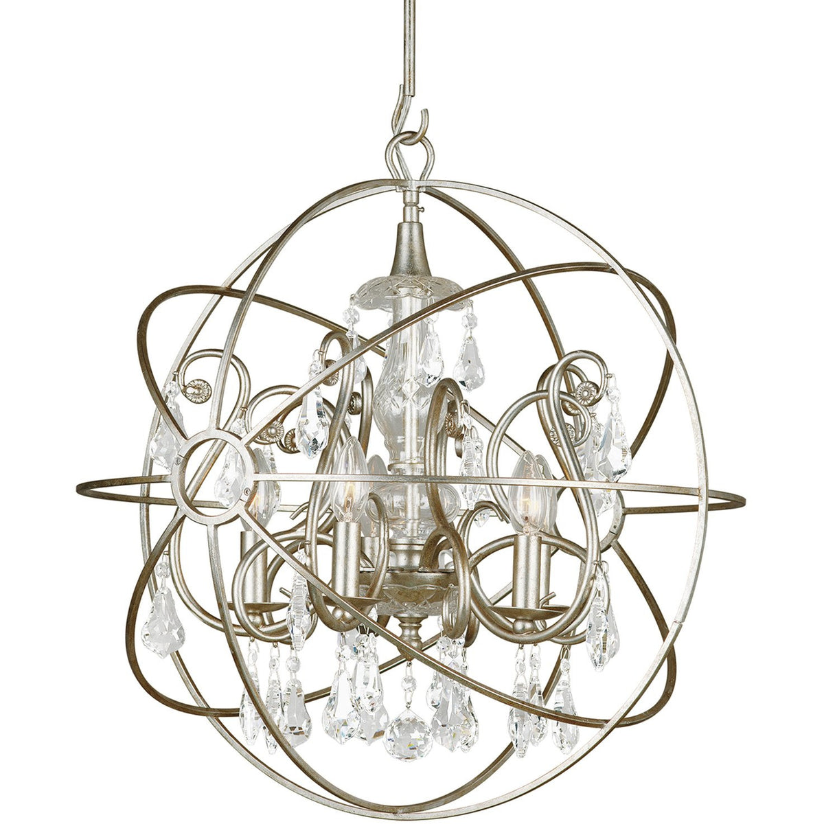 Crystorama - 9026-OS-CL-MWP - Five Light Chandelier - Solaris - Olde Silver