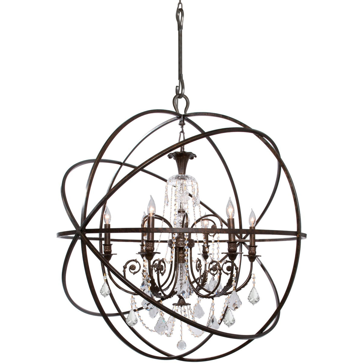 Crystorama - 9219-EB-CL-MWP - Six Light Chandelier - Solaris - English Bronze