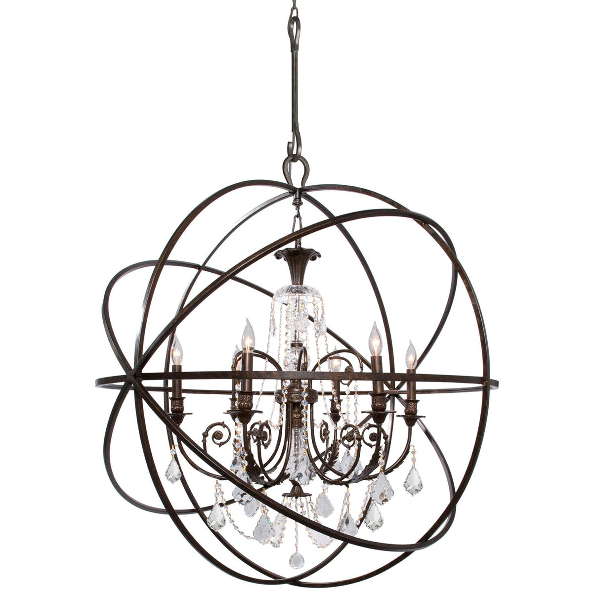 Crystorama - 9219-EB-CL-SAQ - Six Light Chandelier - Solaris - English Bronze