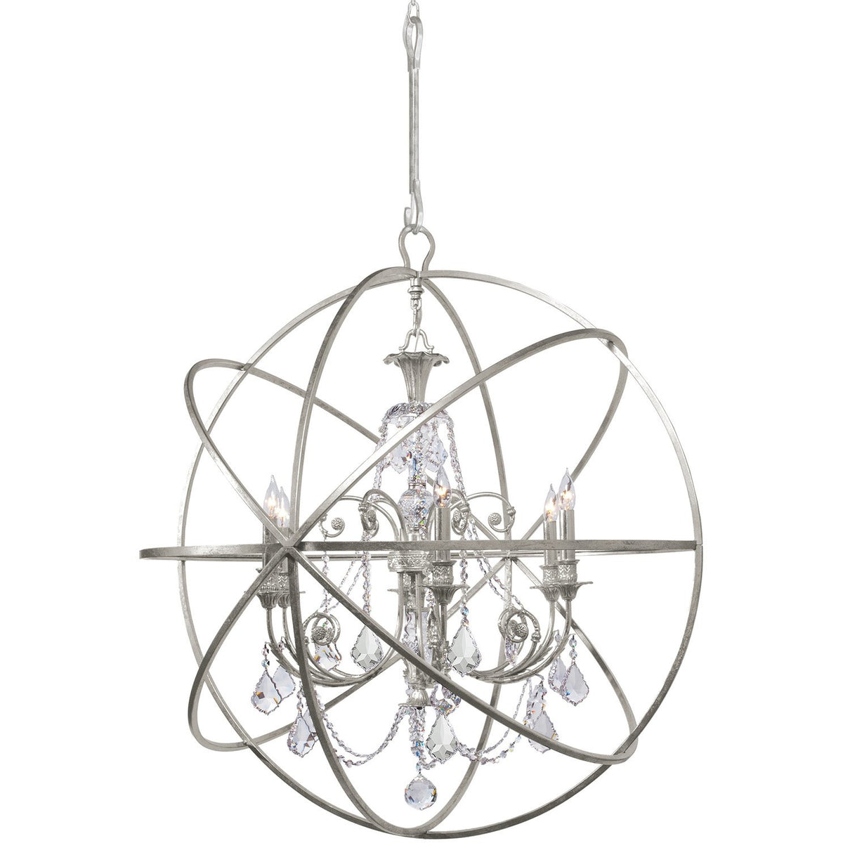 Crystorama - 9219-OS-CL-MWP - Six Light Chandelier - Solaris - Olde Silver