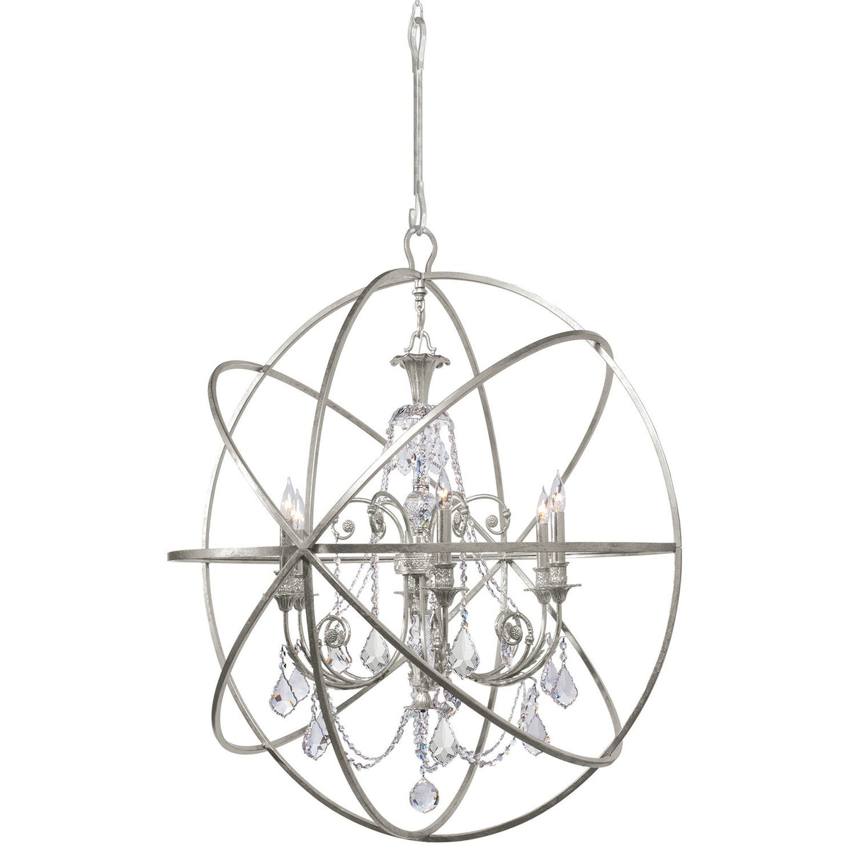 Crystorama - 9219-OS-CL-SAQ - Six Light Chandelier - Solaris - Olde Silver