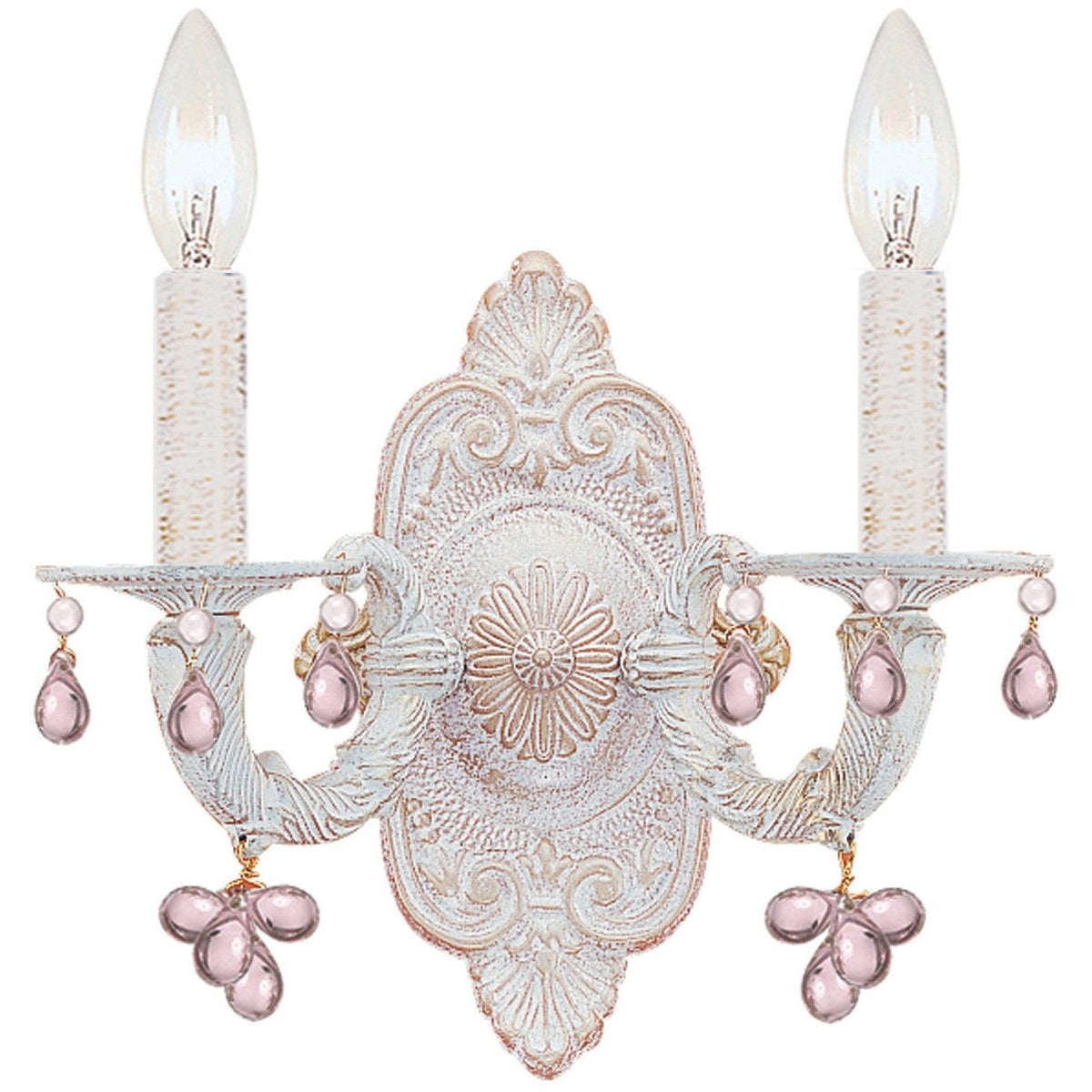 Crystorama - 5200-AW-ROSA - Two Light Wall Mount - Paris Market - Antique White
