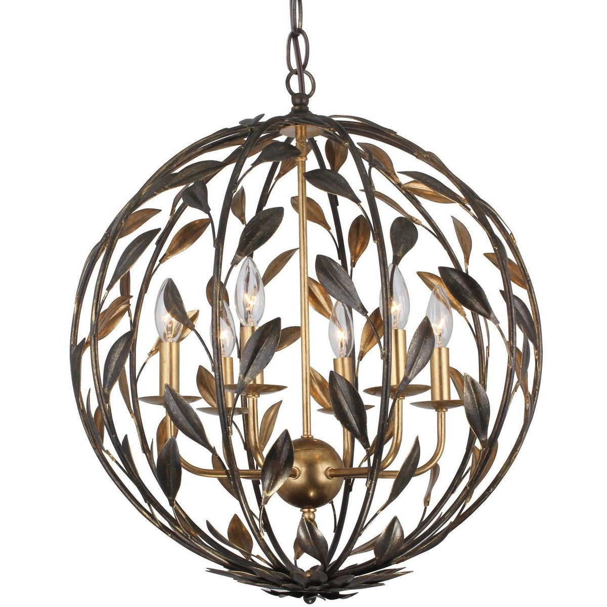 Crystorama - 506-EB-GA - Six Light Chandelier - Broche - English Bronze / Antique Gold