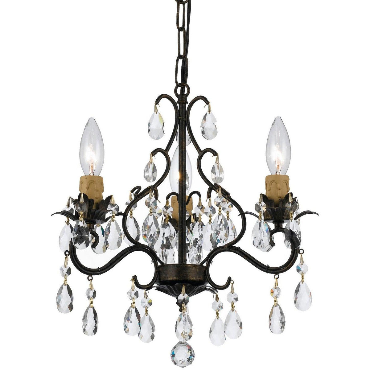 Crystorama - 4534-EB - Three Light Mini Chandelier - Paris Market - English Bronze