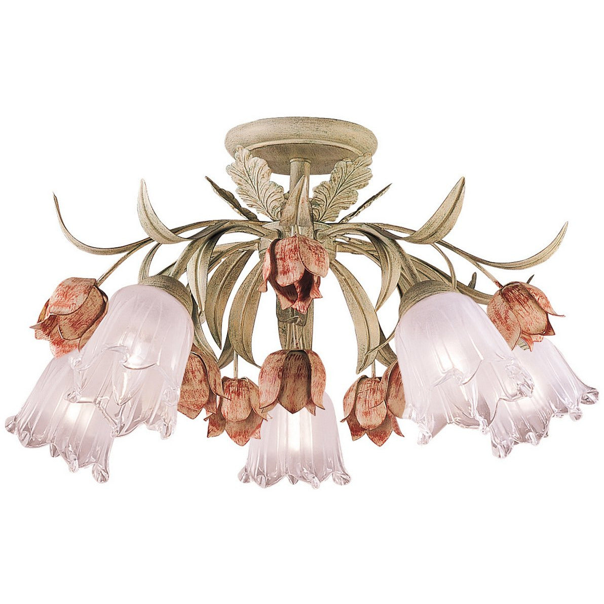 Crystorama - 4800-SR - Five Light Ceiling Mount - Southport - Sage Rose