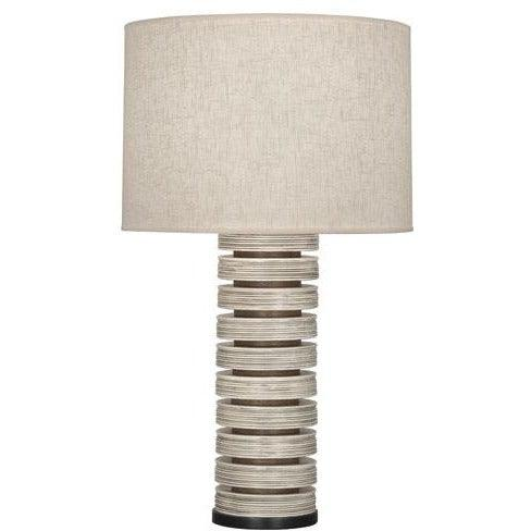 Robert Abbey - 572 - Stacked Table Lamp - Berkley - Antique Oyster & Walnuted Wood