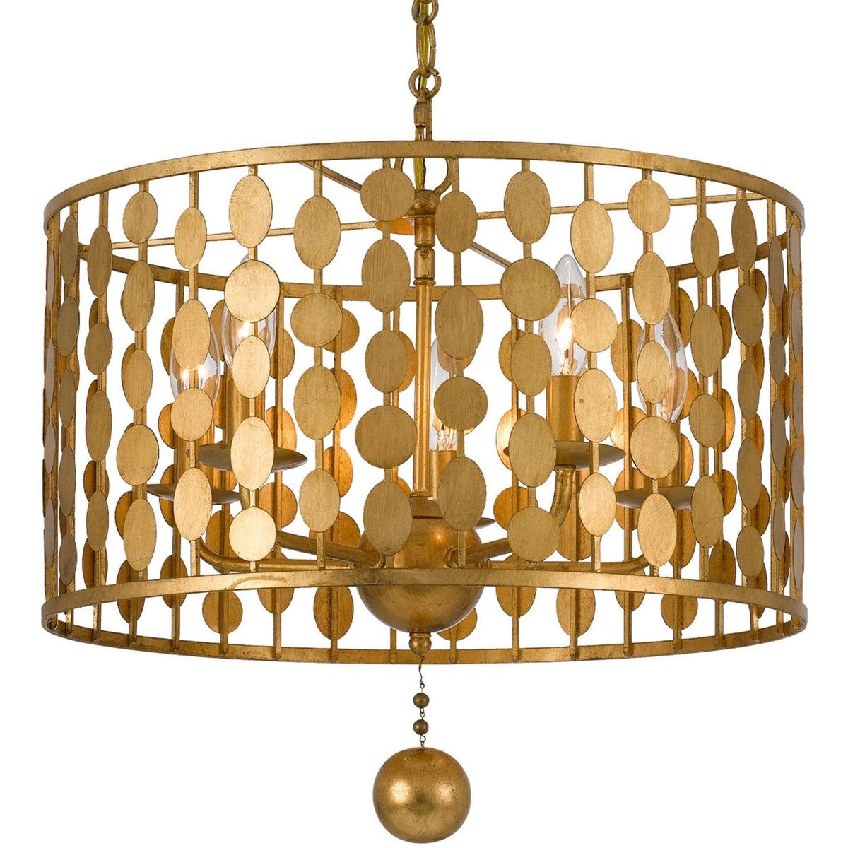 Crystorama - 545-GA - Five Light Chandelier - Layla - Antique Gold