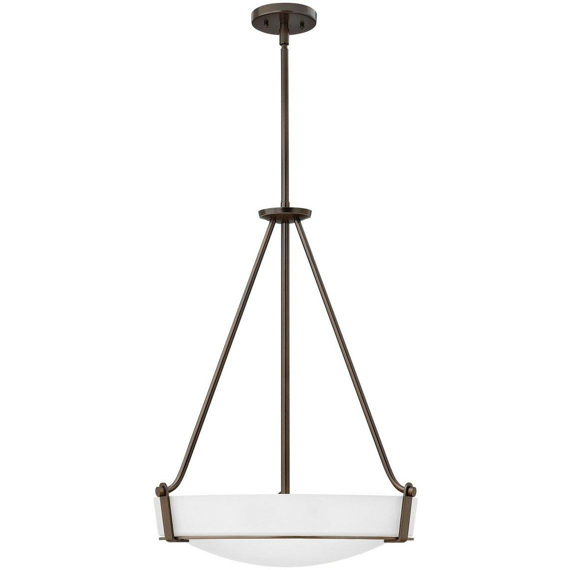 Hinkley Canada - 3222OB-WH - Four Light Foyer Pendant - Hathaway - Olde Bronze With Etched White Glass