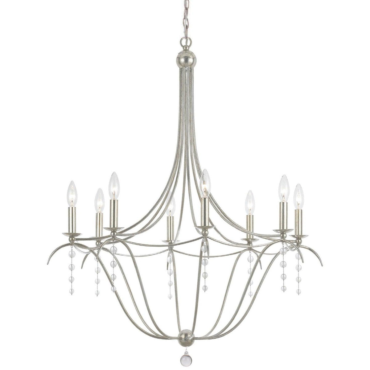 Crystorama - 438-SA - Eight Light Chandelier - Metro - Antique Silver
