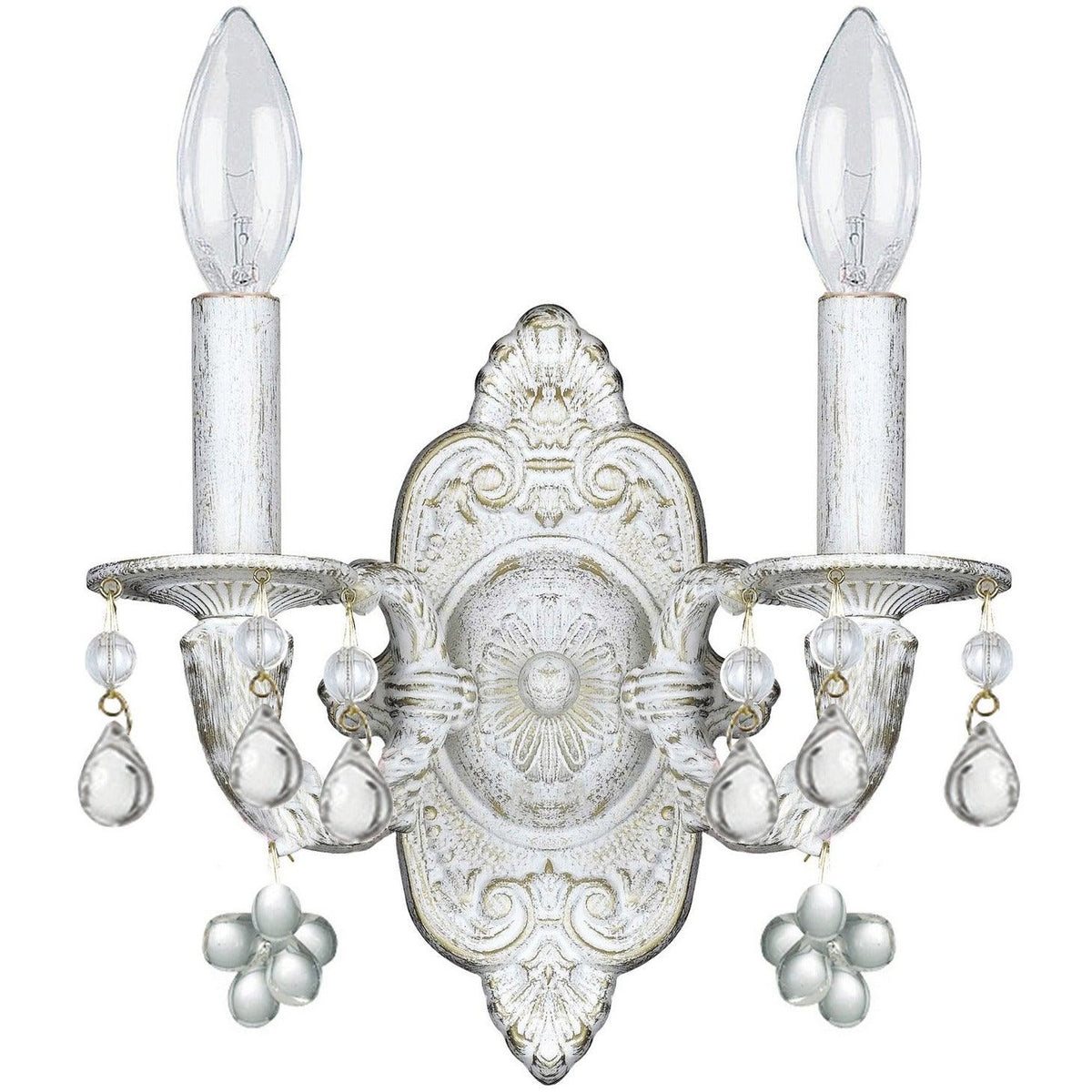 Crystorama - 5200-AW-CLEAR - Two Light Wall Mount - Paris Market - Antique White