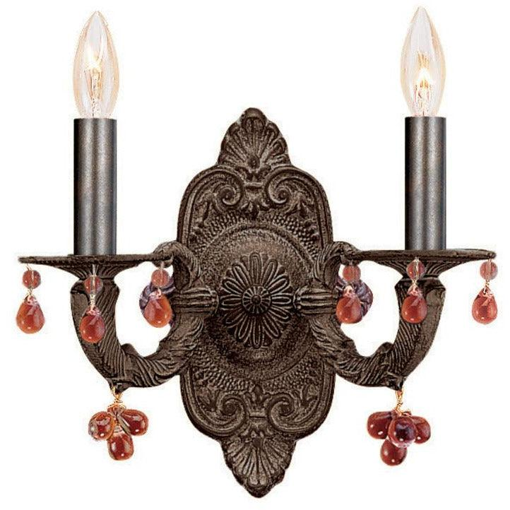 Crystorama - 5200-VB-AMBER - Two Light Wall Mount - Paris Market - Venetian Bronze