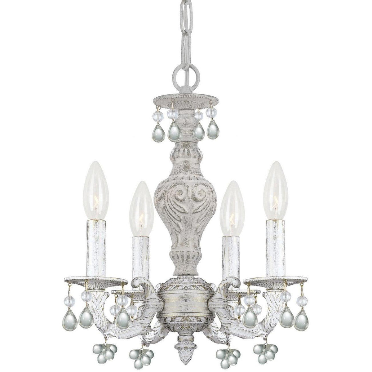Crystorama - 5224-AW-CLEAR - Four Light Mini Chandelier - Paris Market - Antique White