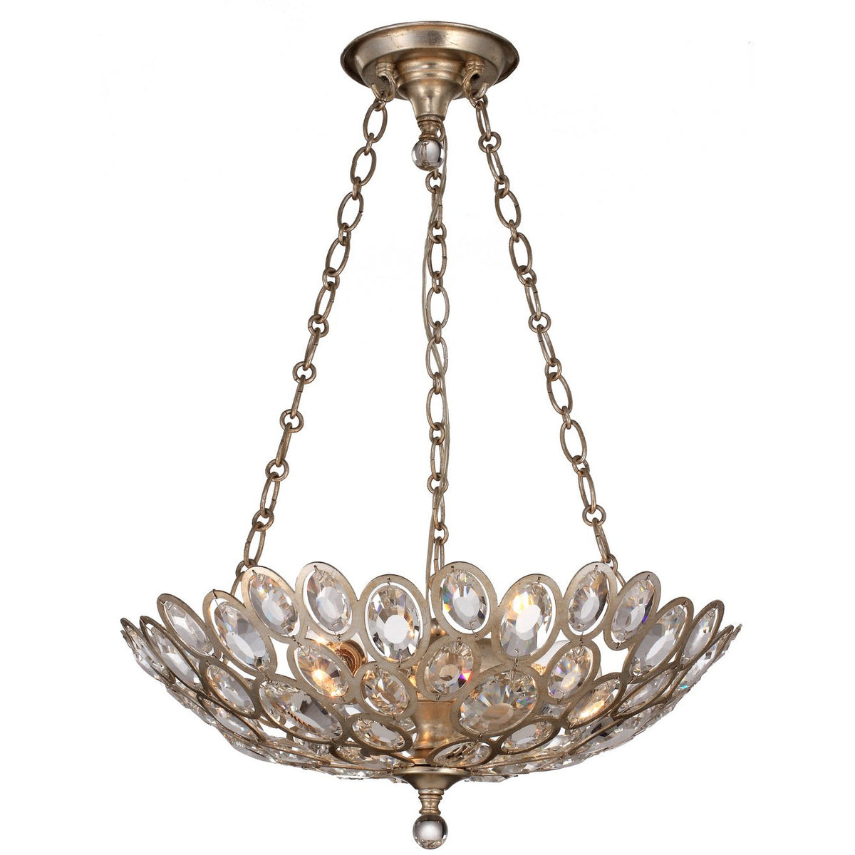 Crystorama - 7584-DT - Three Light Chandelier - Sterling - Distressed Twilight