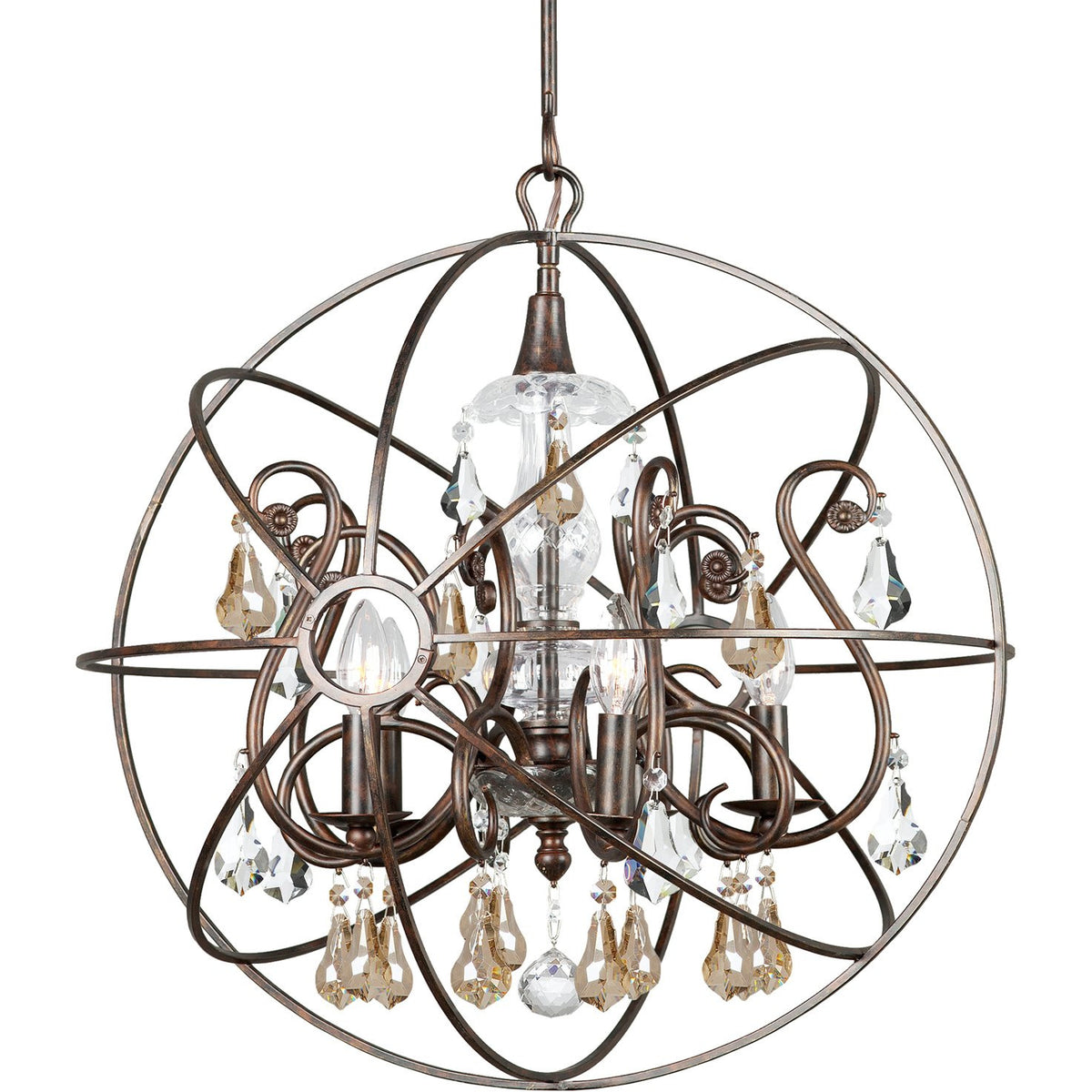 Crystorama - 9026-EB-GS-MWP - Five Light Chandelier - Solaris - English Bronze