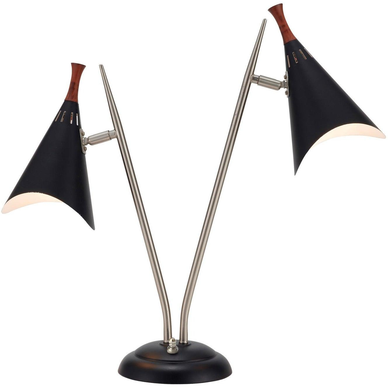 Adesso Home - 3235-01 - Two Light Table Lamp - Draper - Brushed Steel/Black painted w. wood accent